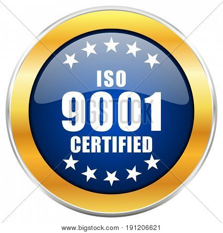 Iso 9001 blue web icon with golden chrome metallic border isolated on white background for web and mobile apps designers.