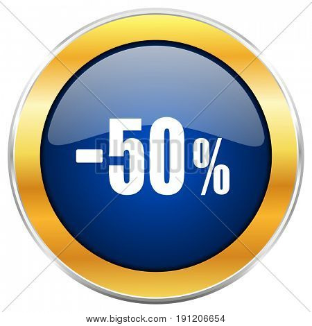 50 percent sale retail blue web icon with golden chrome metallic border isolated on white background for web and mobile apps designers.