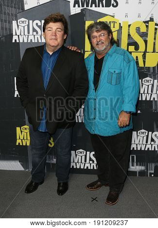 NASHVILLE, TN-JUN 07: Marty Raybon (L) and Mike McGuire of Shenandoah attend the 2017 CMT Music Awards at the Music City Center on June 7, 2017 in Nashville, Tennessee.