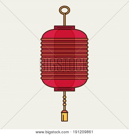 vector flat design chinese new year red paper lantern illustration