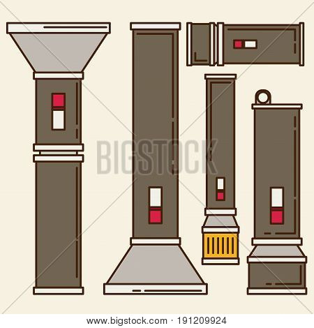 flashlight set in vector flat style icon