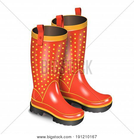 Pair of gumboots. Rain red boots with dots isolated on white background. Realistic vector illustration