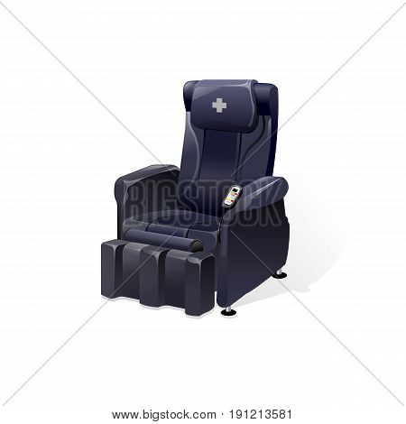 Vector detailed massage chair massager for relax realistic illustration isolated on white background.