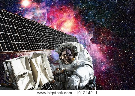 Cosmonaut Works Outside The International Space Station