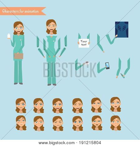 Nurse at work. Vector illustration of cheerful nurse. Set for animation