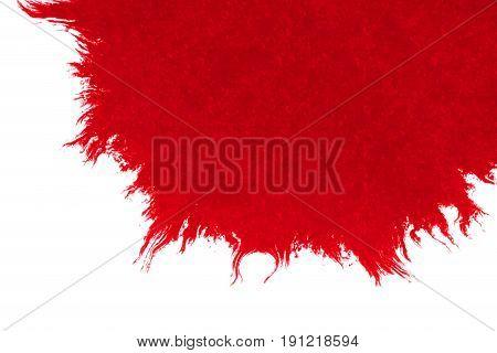 Abstract Red Blood Ink Watercolor Splatter Splash On White Background, Dangerous Horror Or Medical H