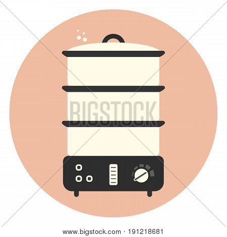 Flat Food Steamer Icon, Kitchen Appliance