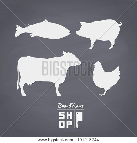 Set of fish, beef, pork and chiken meat silhouettes. Hand drawn elements for butcher shop logo or seafood restaurant design. Chalkboard background. Vector illustration