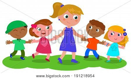Cartoon teacher or babysitter with boys and girls vector illustration isolated on white