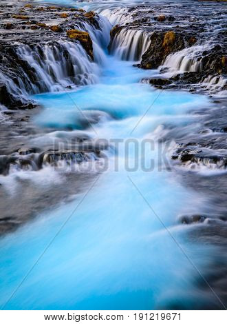 Bruarfoss waterfall Blue stream Reykjavik Iceland Europe