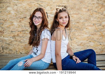 Two Gorgeous Girls Sitting On Wooden Bars Against Veneer Wall.