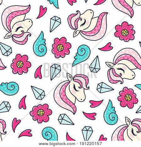 Doodles cute seamless pattern. Color vector background. Illustration with pony, flower and crystal. Design for T-shirt, textile and prints.