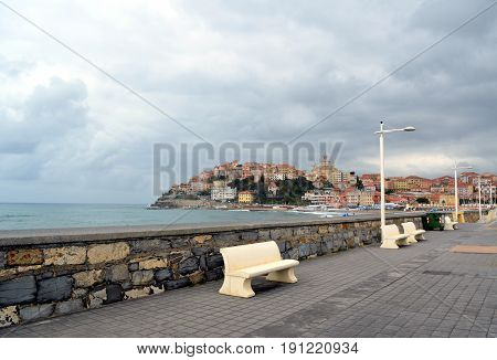 City Of Imperia, Liguria, Italy  Scenic View Of The Elevated Town On The Sea
