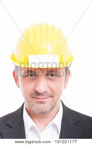 Close-up Of Foreman Wearing Hardhat With Business Card