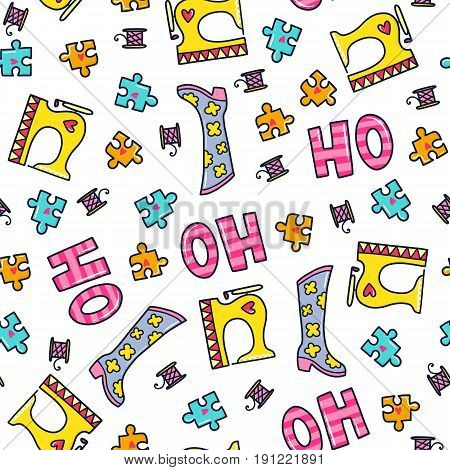 Doodles cute seamless pattern. Color vector background. Illustration with sewing machine, boots and puzzles. Design for T-shirt, textile and prints.