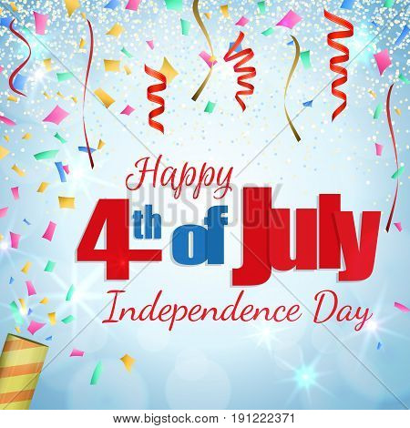 Happy 4th of July, Independence Day greeting card with a cracker and confetti. Happy July Fourth. Vector
