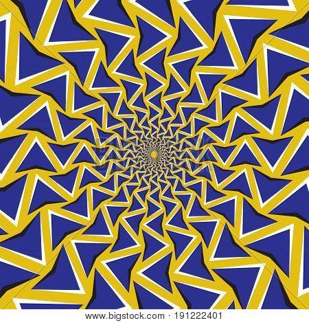 Optical motion illusion background. Blue arrows revolve circularly around the center on yellow background.