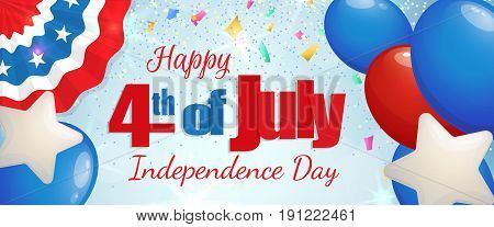 Happy 4th of July, Independence Day greeting card horizontal banner with baloons and paper patriotic bunting. Happy July Fourth. Vector