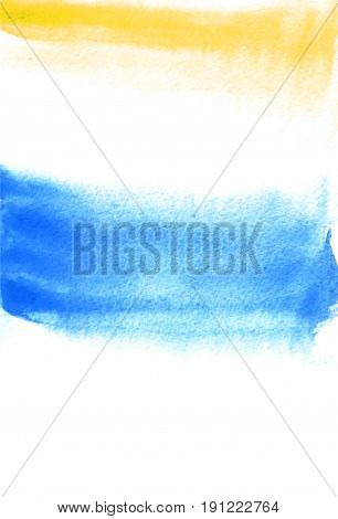 Card with yellow and blue blots. Watercolor painting for design. Abstract bright textured backdrop. Postcard banner logo invitation. Hand paint isolated on white background. Vector illustration.