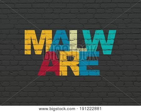 Protection concept: Painted multicolor text Malware on Black Brick wall background