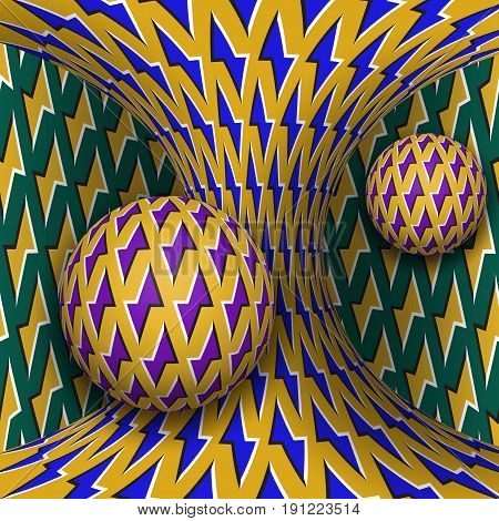 Optical motion illusion illustration. Two spheres are rotating around of a moving hyperboloid. Abstract fantasy in a surreal style.