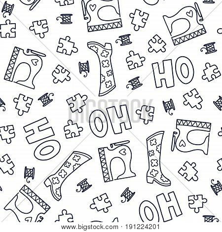 Doodles cute seamless pattern. Monochrome vector background. Illustration with sewing machine, boots and puzzles. Design for T-shirt, textile and prints.