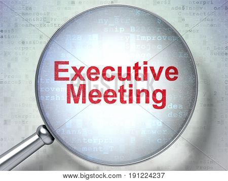 Finance concept: magnifying optical glass with words Executive Meeting on digital background, 3D rendering