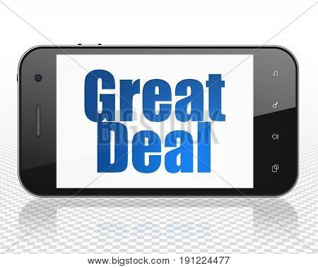 Finance concept: Smartphone with blue text Great Deal on display, 3D rendering