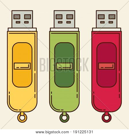 USB flash drive. Flat icon set for design