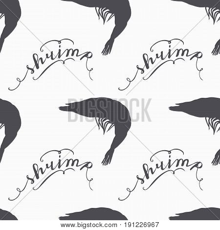 Shrimp silhouette hand drawn seamless pattern in hipster style. Hand lettering. Seafood craft design. Background for craft food packaging