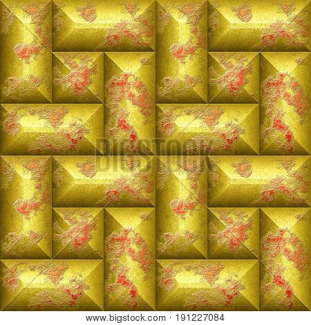 Seamless relief 3d mosaic pattern of scratched gold and red beveled rectangles. Weathered wall with brushed gold and red peeling blocks. 3d rendering