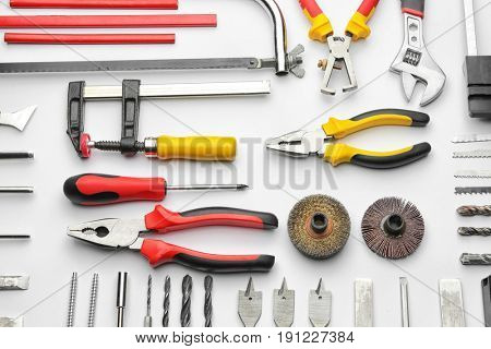 Set of carpenter's tools on white background