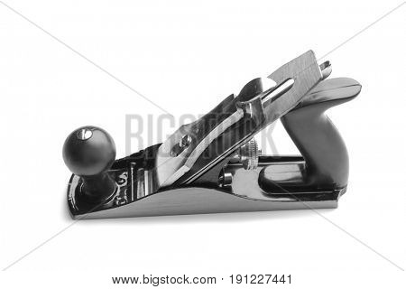 Carpenter's bench plane on white background