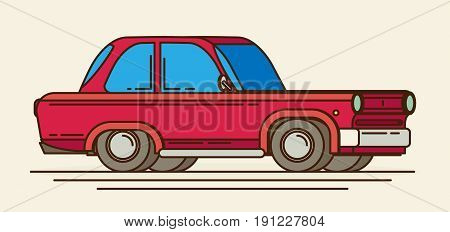 Old car. Flat styled colorful vector illustration
