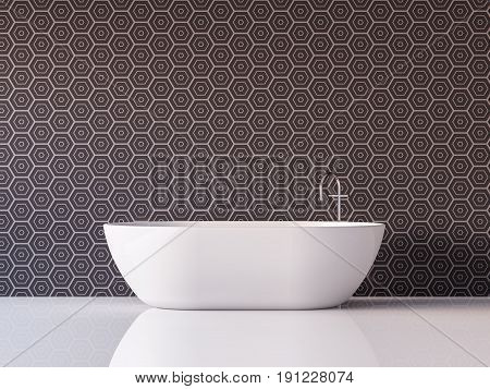 Modern luxury bathroom 3d rendering image Furnished with white bathtub has tile pattern walls and white floor