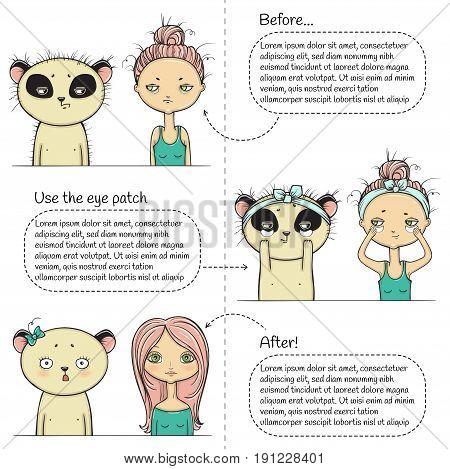 Cute Make-up three steps instruction, girl and panda. Vector illustration.