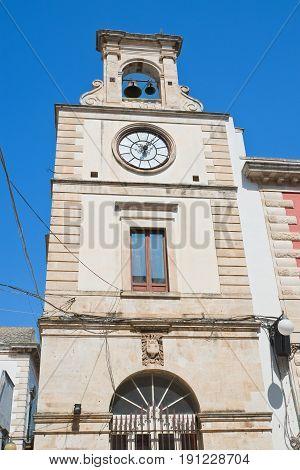 Perspective of Clocktower of Putignano. Puglia. Italy.