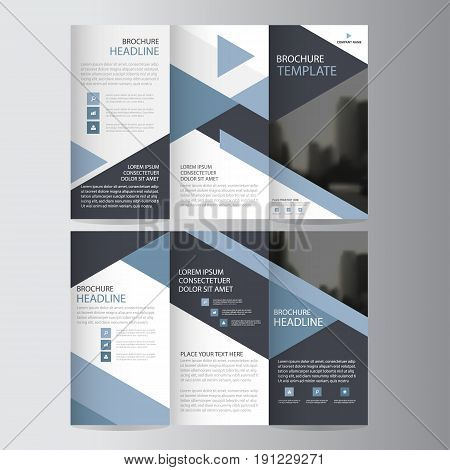 Blue triangle business trifold Leaflet Brochure Flyer report template vector minimal flat design set abstract three fold presentation layout templates a4 size