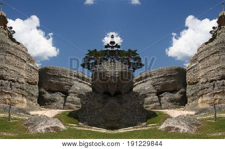 Abstract Symmetrical Photographs of Rocks,Karstic labyrinth of eroded stones