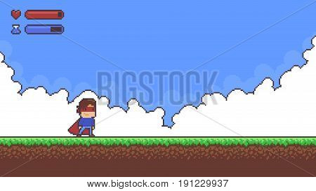 Pixel art game background with superhero character, ground, grass, sky, clouds and ui health and mana icons and bars