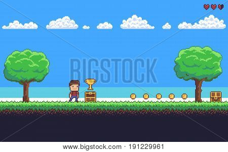 Pixel art game scene with ground, grass, trees, sky, clouds, character, coins, treasure chests and 8-bit heart
