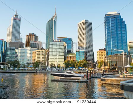 PERTH, AUSTRALIA - MARCH 19, 2017: Elizabeth Quay is a mixed-use development project in the Perth central business district in Australia. Located on the north shore of Perth Water, it is named in honour of Queen Elizabeth II