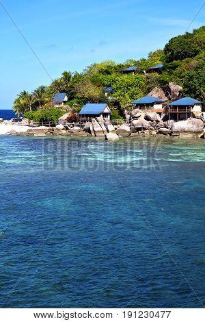 Blue Lagoon  Stone   Thailand Kho Tao Bay Abstract Of A  House
