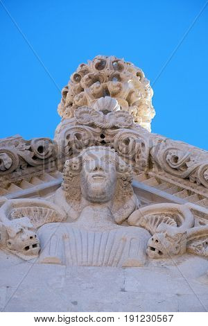 KORCULA, CROATIA - NOVEMBER 09: The sculpture, decoration on the St Mark s Cathedral in the historic city Korcula at the island Korcula in Croatia on November 09, 2016.