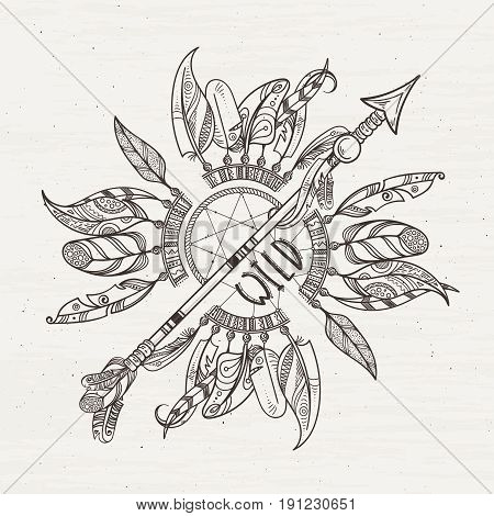 Tribal poster with dreamcatchers arrows and indian feathers. Vector illustration with place for your text. Feather design tribal, ethnic dream catchers indian