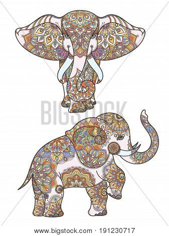 Silhouette of coloring african elephant and mandalas decoration on it. Vector abstract illustration african elephant pattern decoration