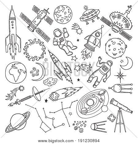 Doodle different universe elements. Planets, sun, earth and moon. Vector hand drawn illustrations. Moon and star cartoon, earth planet in universe doodle hand drawn