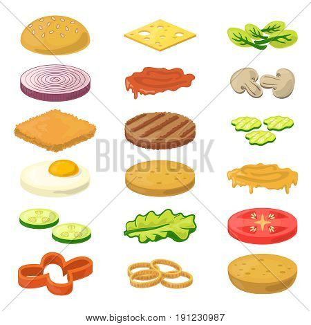 vector illustration of different burgers ingredients in cartoon style fast food pictures ingredient food