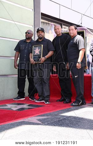 LOS ANGELES - JUN 12:  MC Red, O'Shea Jackson aka Ice Cube, Dr Dre, DJ Yella at the Ice Cube Star Ceremony on the Hollywood Walk of Fame on June 12, 2017 in Los Angeles, CA