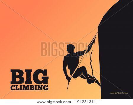 Black silhouette of man on mountain on the sunset - climbing background. Climbing sport man on rock. Vector illustration